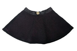 Young Versace Girls Black Fit And Flare Medusa Logo Skirt