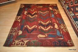 5and039 X 7and039 Wool Embroidery Tribal Rug Hand Sewn Hand Woven Wool Area Wool Rug.