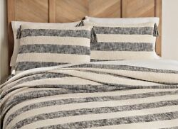 Southern Living Simplicity Madison Queen Coverlet And 2 Shams Cotton Cream And Black