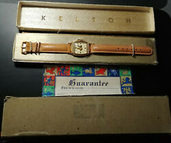 Vintage Kelton 1946 Variant 2 Mickey Mouse Character Watch And Kelton Box And Sleeve