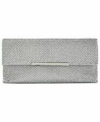 INC Hether Silver Clutch Shiny Mesh with strap Handbag $29.71