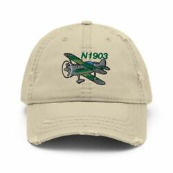 Airplane Embroidered Distressed Cap Air38i517-g1 - Personalized With Your N