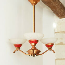 Ceiling Chandelier 1950 Copper And Glass 50s 1950s Vintage Years 50