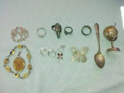 Vintage Lot Of 13 Pieces Of Sterling Silver Brooches, Rings, Spoon, And More