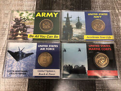 4 Us Military Commemorative Coins - Army Navy Air Force And Marine Corps In Case