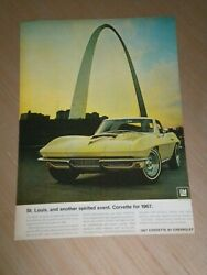 1967 Corvette Car Ad St Louis For $4.00 Total No Matter How Many $5.99