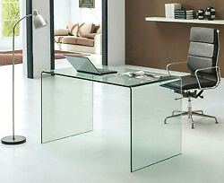 Neos Modern Furniture Bent Glass Computer Desk For Home Office And Remote Work