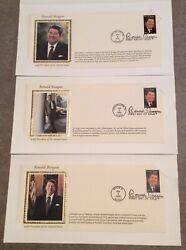 3 Ronald Reagan First Day Of Issue Commemorative Envelope 37 Cent Stamp 2/9/05