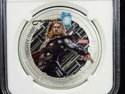 2015 Niue 2 Thor Colorized Ngc Pf69 Ultra Cameo 1oz .999 Silver Coin Avengers