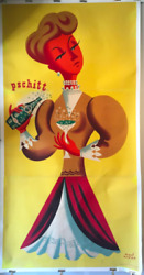 And039pschittand039 Perrier Woman By H. Morvan - Original Vintage French Poster- Oversized