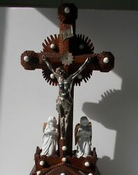Large Antique French Tramp Art Wood Carved Crucifix Porcelain Angels Rare 19.48