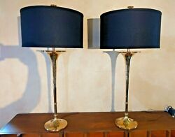 Signed Vintage 1986 Chapman Solid Brass Trumpet Table Lamp Pair