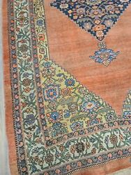 Antique Handwoven Rug Size 4and03910andtimes7and0399 Traditional Tribal Bijar Design Salmon