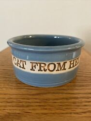 "Vintage Handmade quot; Cat from Hell quot; cat food bowl Ceramic Blue 5"" W Mint"