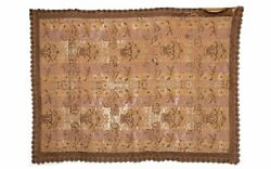 Vintage French 19thc Antique Lyon Silk Brocade Fabric Wall Hanging Tapestry