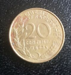 Rare France Marianne 20 Centimes 1963 Coin Paris Great Condition Collectable