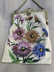 Antique Victorian Large Vintage Floral Beaded Purse Pouch Gold Tone Chain Issue