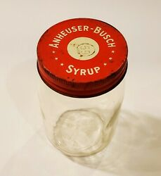 Vintage 1960s Anheuser-busch Syrup For Waffles Jar And Lid Rare Advertising Prop
