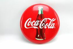 12 Commercial Refrigerator Coca Cola Round Metal Bottle Red Button Sign 2010 /3