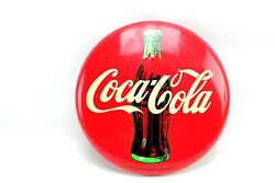 12 Commercial Refrigerator Coca Cola Round Metal Bottle Red Button Sign 1990 /4