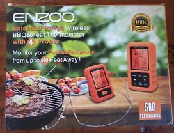 Enzoo Extended Range Wireless Bbq And Meat Thermometer With 4 Probes 500 Ft Away