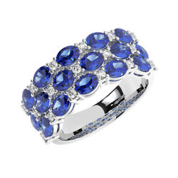 3.0ct Round Cut Diamond And Oval Blue Sapphire Eternity Ring In 18k White Gold