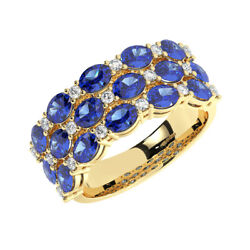 3.0ct Round Cut Diamond And Oval Blue Sapphire Eternity Ring In 18k Yellow Gold