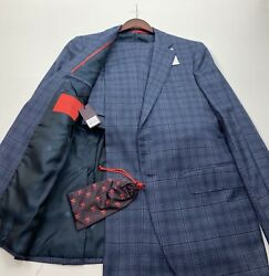 931 4495 Isaia And039sanitaand039 Plaid Fabric Suit Size 42 R Drop8 Slim Fit