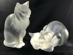 Pair Lalique France Frosted Crystal Sitting Crouching Cat Figures