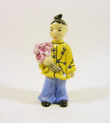 Herend, Chinese Asian Girl With Flower 4.8, Handpainted Porcelain Figurine