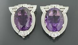 Vintage 14k White Gold 1 Pair Of Amethyst And Diamonds Clips