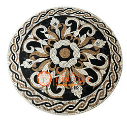 Marble Round Dining Table Top Precious Mosaic Inlay Stone Occasion Decor H3889
