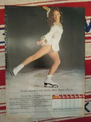 1973 Peggy Fleming Hanes Alive Pantyhose Hosiery Ad White Skating Costume