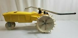 """Vintage Nelson Cast Iron Traveling Lawn Tractor Sprinkler 19"""" Long 42327 Works"""