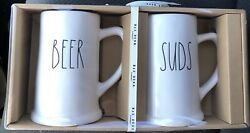 Rae Dunn White Ceramic Beer And Suds Steins Mugs Glasses