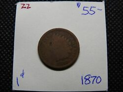 1870 1c Indian Head Cent Gold Brown With 1 Small Obverse Spot Better Date