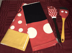 Disney Parks Mickey And Minnie Mouse Silicone Spatula Set And Kitchen Towels New