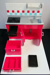 Re-ment Miniature Kitchen 16 Cabinet With Stove And Sink 2005 Red Doll House