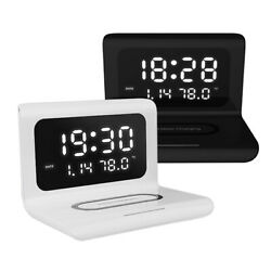 NEW 3 in 1 Wireless Charger amp; LED Digital Alarm Clock amp; Thermometer Modern