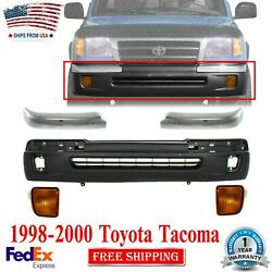 Front Textured Bumper Cover Chrome Trim And Signal Lamp Lh Rh For 1998-2000 Tacoma