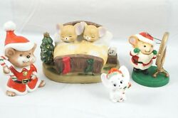 4 Mice Mouse Christmas Figurines Ornaments Vintage Homco Avon Santa Candy Canes