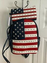 AMERICAN FLAG CONCEALED CARRY SOFT BACKPACK w CROSSBODY WALLET Red White amp; Blue $59.00