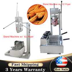 Commercial Manual Vertical 3l Churros Donut Machine W/stand 110v W/ 6/12l Fryer