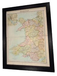 Antique Framed Citizen's Atlas World Map From The 1890's Wales
