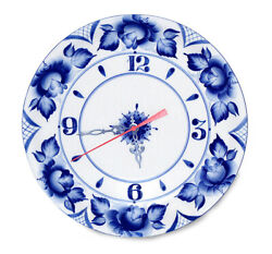 27 Cm Round Porcelain Wall Clock With Floral Gzhel Pattern Handmade In Russia