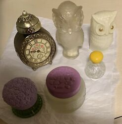 Vintage Empty Avon Decanters Lot Of 7 Bottles Rare Owls And Clock