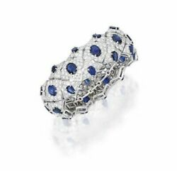 Solid 925 Sterling Silver Blue Oval Sparkly White Cz Party Bracelet For Women