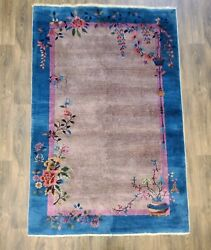 Antique Handwoven Authentic Chinese Art Deco Oriental Wool Area Rug 5x8ft Blue