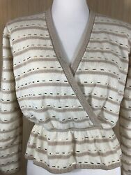 St. John Evening For I. Magnin Vintage Sweater Peplum 10 Made in USA Flaw $29.99