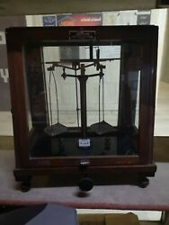 Rare Old Antique Used Sapleis Manual Scale Wood Box Gold Jewelry Balance Size
